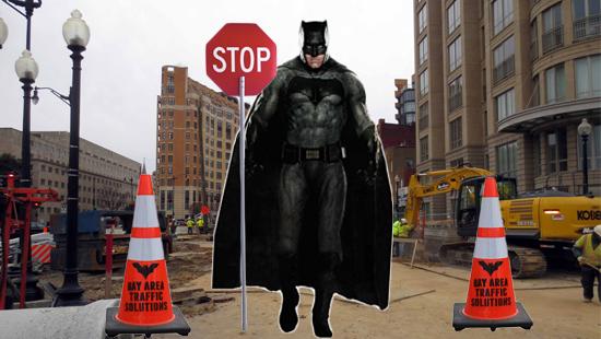 DC Comics Batty to Confuse an Orange Traffic Cone with the Batman Logo?